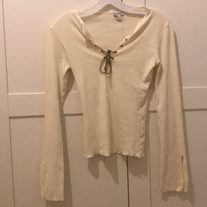 y2k bebe leather lace up bell sleeve cream blouse